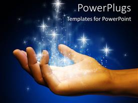 Presentation theme having digital representation of open hand catching falling stardust on blue and black background