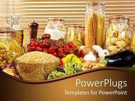 Theme having display of various healthy foods, nuts, vegetables and berries
