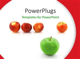 Presentation theme having distinct green apple stands out of red apples on white background
