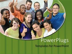 Presentation theme consisting of diverse group of smiling people giving thumbs up gestures