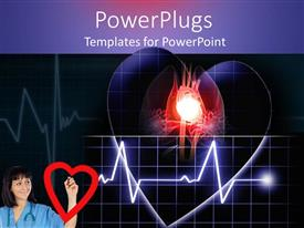PPT layouts having doctor in blue with a wave line from a beating heart