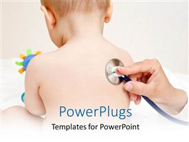 Slides enhanced with a doctor checking the kid with stethoscope