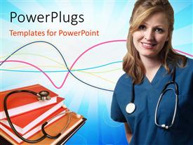 Colorful PPT theme having a doctor who is happy with a number of books