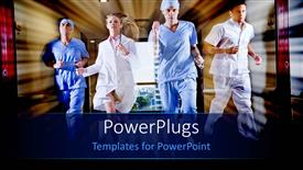 Colorful PPT layouts having doctor and nurse running in hallway of hospital