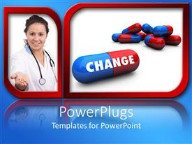 Audience pleasing PPT theme featuring a doctor showing tablets and a number of capsule sin the other frame