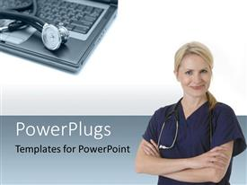 Presentation design enhanced with doctor with stethoscope around neck withstethoscope sitting on laptop