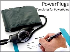 Slide deck enhanced with a doctor writing the prescription for the patient along with checking blood pressure