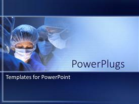 PPT theme enhanced with doctors during surgery in operation room in hospital on a blue background