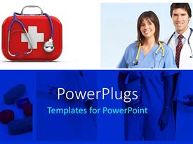 Slide deck enhanced with doctors with stethoscope and medicines depicting medical concept with pills