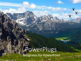 Beautiful theme with dolomite mountains with birds soaring high and green vegetation