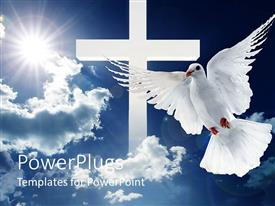 Theme consisting of a dove in front of a cross and clouds in the background