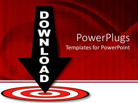 PPT theme enhanced with download arrow pointing down the middle of red target