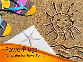 Audience pleasing PPT theme featuring the drawing of a smiling sun on the sand