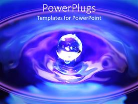 Beautiful PPT theme with a drop of water making a ripple effect with blue background