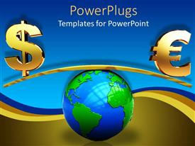 Elegant presentation theme enhanced with the Earth along with various currency signs