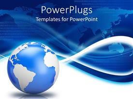 Elegant PPT theme enhanced with earth globe with blue world map background and white waves