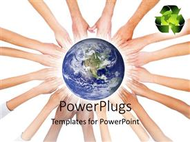 Presentation theme enhanced with earth globe sitting on hands joined together with recycle symbol