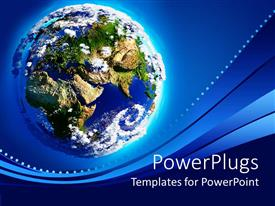 Elegant PPT theme enhanced with earth with Mountains, oceans, greenery and the atmosphere in sunlight