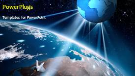 Amazing PPT theme consisting of earth in the space with stars in background - widescreen format