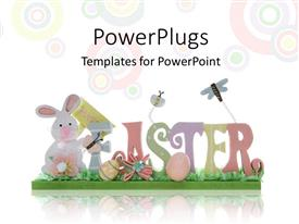 Colorful presentation design having easter depiction with colorful letters forming EASTER over background with colored circles