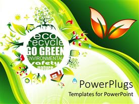 Beautiful presentation theme with eco friendly save the environment  go green  green background with nature icons