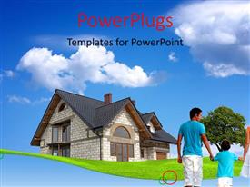 Beautiful slide deck with happy family of four with beautiful house over blue cloudy sky