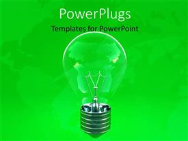 Presentation design with ecology depiction with transparent light bulb on green background
