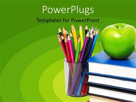 Audience pleasing slides featuring education green background with books, apple and colored pencils in cup, school, teaching