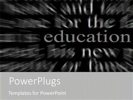Slides enhanced with education metaphor with red word on black and white word background