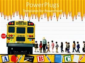 Beautiful PPT layouts with education school theme with yellow school bus kids and teacher, pupils, row of sharpened pencils on top and yellow ruler on bottom with letter cubes, apple, markers, chalk and chalkboard, notebook