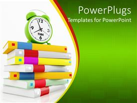 PPT theme enhanced with education theme with various colored cover books one on top of other with green alarm clock showing 8 o clock