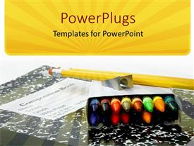 Elegant presentation theme enhanced with educational school materials of crayons, sharpener, pencil and a book