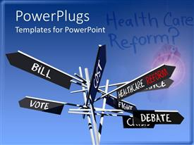 PPT theme with eight black sign post plates with different health care text on them