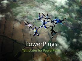 Presentation theme having eight sky divers in cloudy sky performing stunts