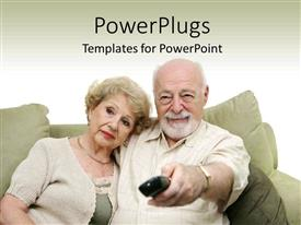 Elderly powerpoint templates ppt themes with elderly backgrounds elegant ppt layouts enhanced with elderly couple on couch with husband changing channel with remote template size toneelgroepblik Image collections