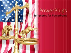 Elegant PPT theme enhanced with election theme with 3D golden scale over American flag