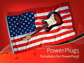 Presentation theme with electric guitar sitting on American flag with red background and music notes