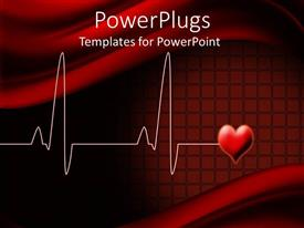 Elegant slide deck enhanced with electrocardiogram wave lines with love shape on red background