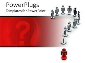 PPT theme featuring eleven white and one red 3D human character forming a question mark