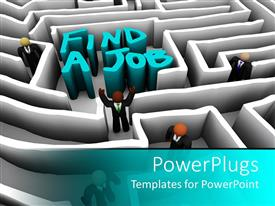 Presentation theme featuring employment metaphor with people navigating a maze to find a job