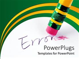Powerpoint template rainbow color crayons and yellow erasers with ppt theme with end of a pencil eraser cleaning off an error text toneelgroepblik Choice Image