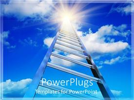 PPT theme consisting of endless ladder stretching into the blue cloudy sky