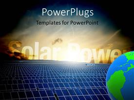 5000 solar energy powerpoint templates w solar energy themed slides with energy field with sunshine over solar panels and blue earth globe template size toneelgroepblik Image collections