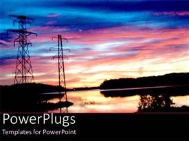 Colorful presentation theme having energy power poles with electricity lines over water with trees in the sunset setting and sky at sunset