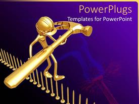PPT theme having engineer holding golden hammer walking on inverted gold pins