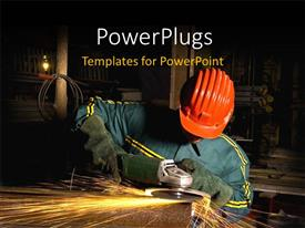 Amazing PPT theme consisting of engineer using industrial grinder with orange helmet in industry