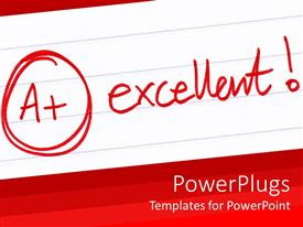 Elegant PPT theme enhanced with a+ excellent grade with exclamation mark on white school notebook paper and red background