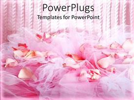Presentation theme consisting of the fabric and flowers along with pinkish lines in the background