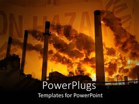 PPT theme consisting of factory pollution clouds hazard save the planet  red background  burning coal  creates smog