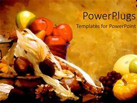 Elegant slide set enhanced with fall depiction with baskets filled with fruits on grunge background